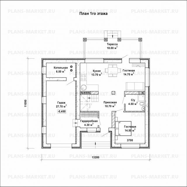 Готовый проект загородного дома Гс-168