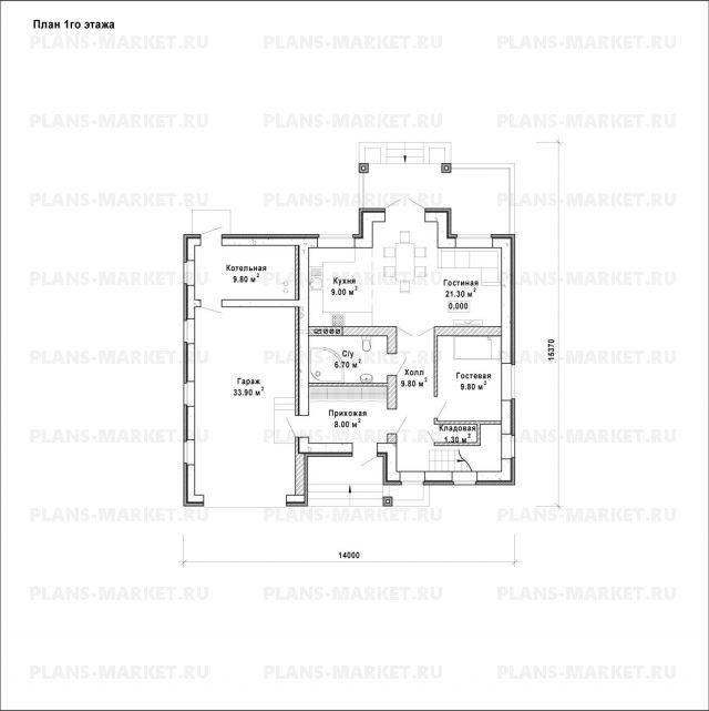 Готовый проект загородного дома Гс-174