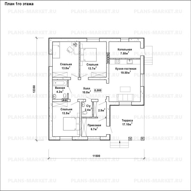 Готовый проект загородного дома Гс-96