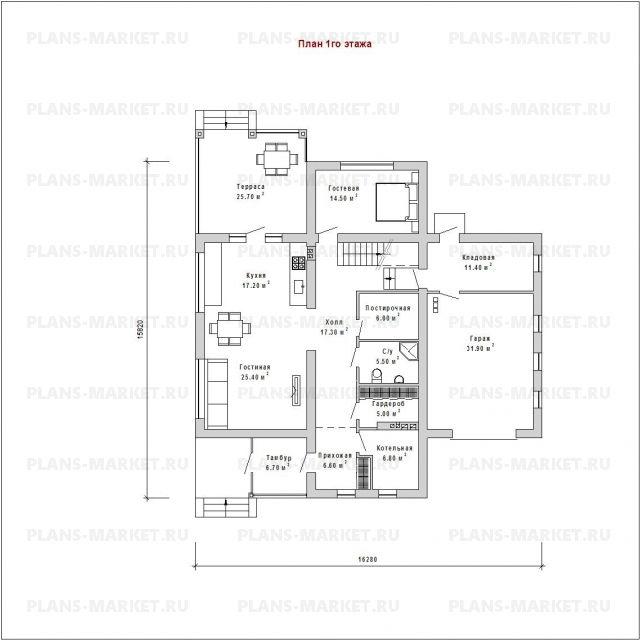 Готовый проект загородного дома Гс-245
