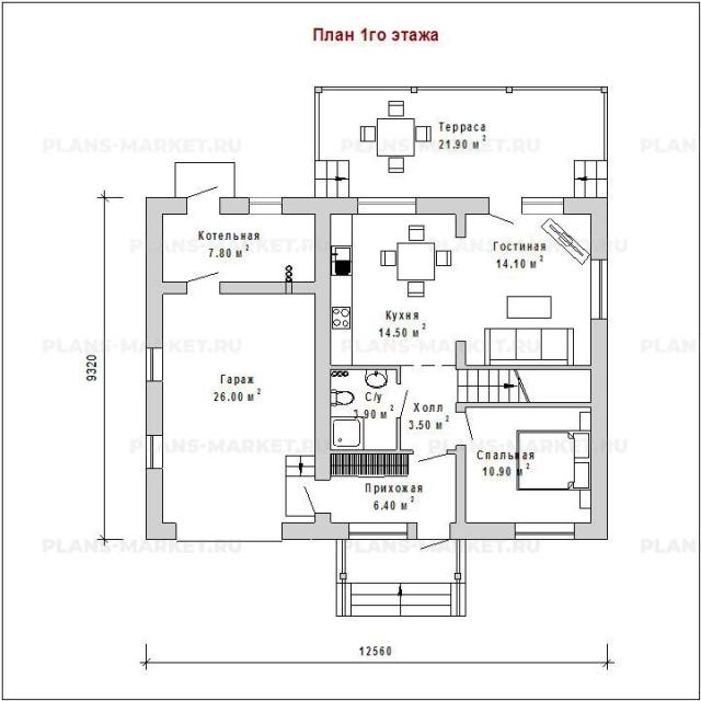 Готовый проект загородного дома К-107а