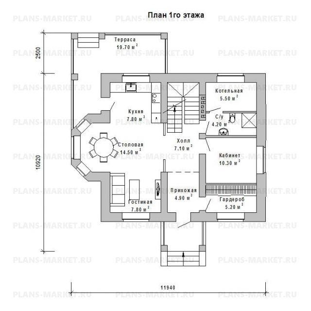 Готовый проект загородного дома Гс-124