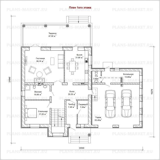 Готовый проект загородного дома К-311