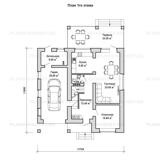 Готовый проект загородного дома К-142