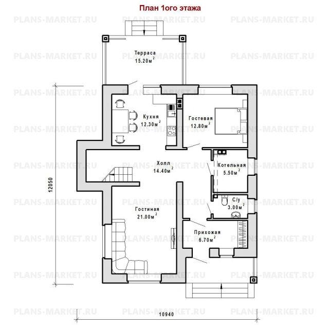 Готовый проект загородного дома Гс-153-2