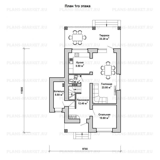 Готовый проект загородного дома Гс-115