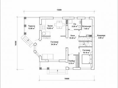 Готовый проект загородного дома Гс-154-2