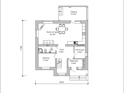 Готовый проект загородного дома К-147