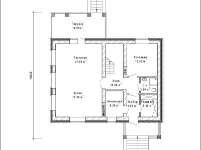 Готовый проект загородного дома К-169а