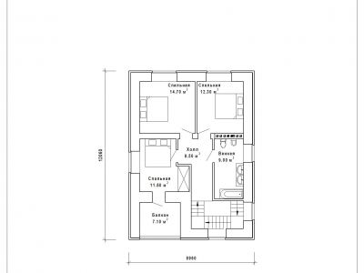 Готовый проект загородного дома К-123