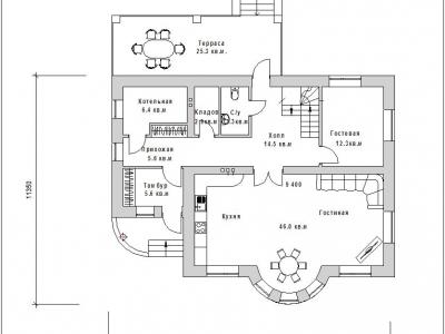 Готовый проект загородного дома Гс-173-1