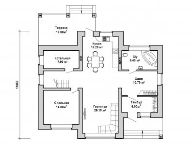 Готовый проект загородного дома Гс-187